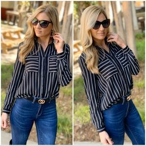 Black double pocket striped button down